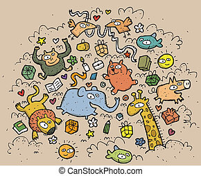 Composition of funny animals and objects: hand drawn vector illustration. Illustration is in eps10 vector mode!