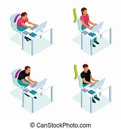 Computer Posture Isometric Concept