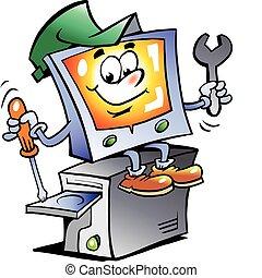 Hand-drawn Vector illustration of an Computer Repairman