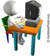 Cartoon 3D man PC user presses a key and clicks a mouse on a computer desk.