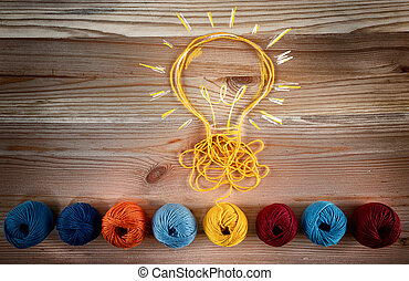Concept of idea and innovation with wool ball.