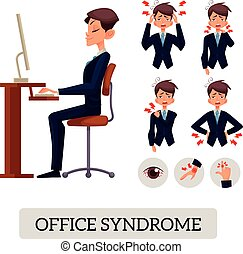 Concept of office syndrome. Male illustrates various body aches