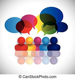 concept vector of school kids talking or office staff meeting. The graphic also represents global conference, social media interaction and engagement, children talking in school, employee discussions