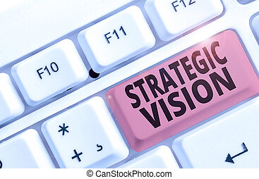Conceptual hand writing showing Strategic Vision. Business photo showcasing clarifies the direction the organisation needs to move.