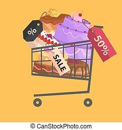 confectionery shop Sale. Set of sweets, cakes. desserts. vector illustration