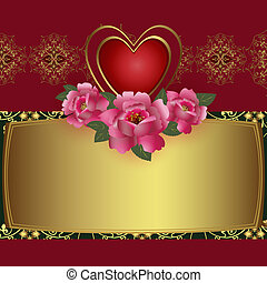 Congratulation card with red heart and roses. Illustration Saint Valentine's Day.