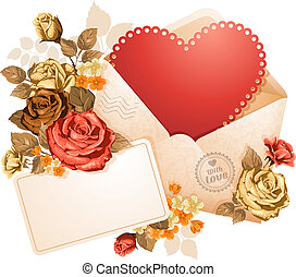 Congratulation on Valentine's Day in open envelope and beautiful flowers