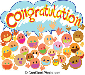 Many people happy face saying congratulation with you.