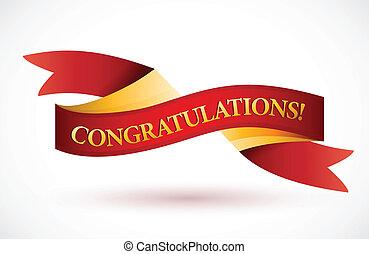 congratulations red waving ribbon banner illustration design over white