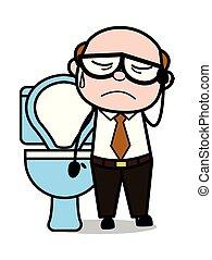 Constipation - Retro Cartoon Father Old Boss Vector Illustration