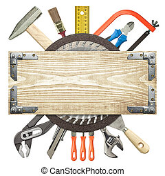 Carpentry, construction background. Tools underneath the wood plank.
