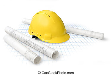 Construction drawing blueprints and yellow hard hat isolated