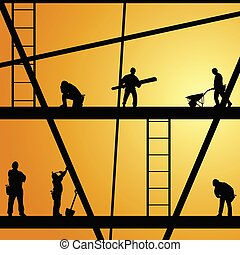 construction worker silhouette at work vector illustration