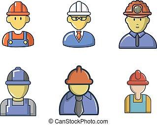 Construction worker icon set, cartoon style