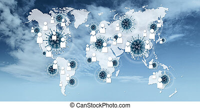 Contact Tracing COVID-19 Corona Virus Tracking App and spread concept,world geographic map with people symbols and molecule icons on blue sky background
