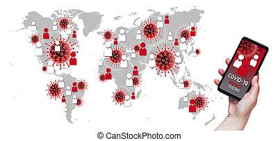 Contact Tracing COVID-19 Corona Virus Tracking App concept, hand holding cell phone with application design on screen in front of world geographic map with symbols and icons on white backround