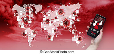 Contact Tracing COVID-19 Corona Virus Tracking App concept, hand holding cell phone with application design on screen in front of world geographic map with symbols and icons on red backround