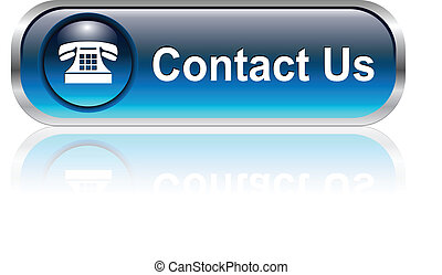 Contact us, telephone icon, button, blue glossy with shadow
