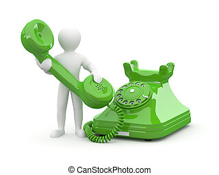 Contact us. Man with phone on white isolated background. 3d