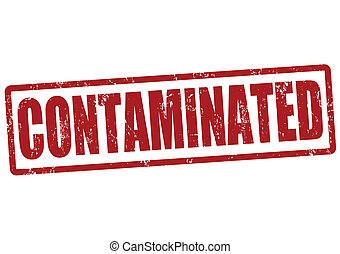 Contaminated red grunge rubber stamp, vector illustration