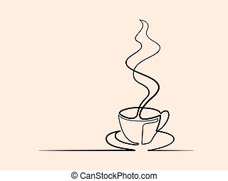 continuous line drawing of cup of coffee