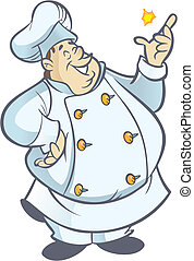 Chubby chef cartoon in white uniform snapping fingers