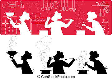 Silhouettes of three cooks working in the kitchen