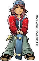 Cool Boy With Skateboard and Bandana