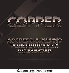 Copper Font and Numbers, Eps 10 Vector, Editable for any Background