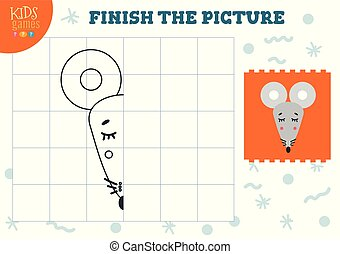 Copy and complete the picture vector blank game, illustration. Preschool kids activity or exercise for learning and education with cartoon mouse