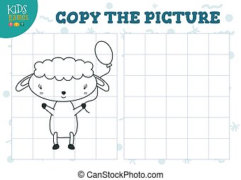 Copy picture by grid vector illustration. Educational mini game, puzzle for preschool kids. Cartoon outline sheep for drawing exercise