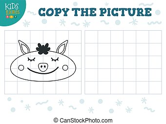 Copy picture vector illustration. Educational game for preschool kids. Cartoon outline pig head for drawing
