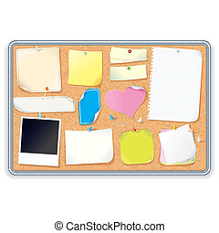 Cork Board with Notes. Vector Image