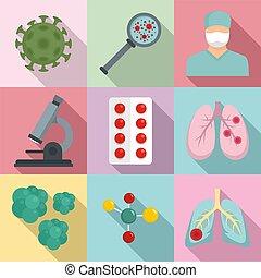 Coronavirus icon set vector cartoon style