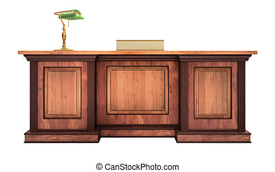 A classic styled corporate desk with classic desk lamp & Name tag over a white background. Project created in 3d app.