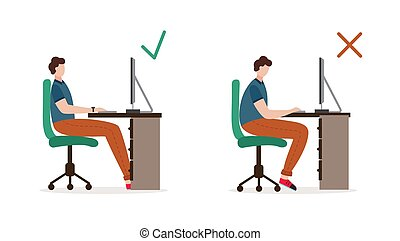 Correct and incorrect pose of person sitting on office chair a vector illustration