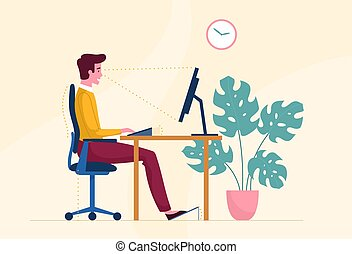 Correct posture or position when working