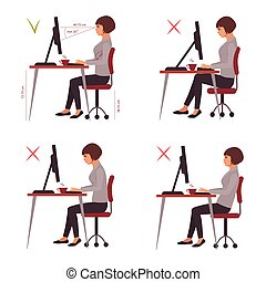 correct sitting position, office desk posture, vector