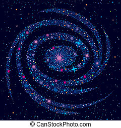 Vector illustration with large galaxy and various cosmic elements.