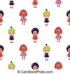 Costumed kids vector cartoon seamless pattern. Children wearing fruit costumes.