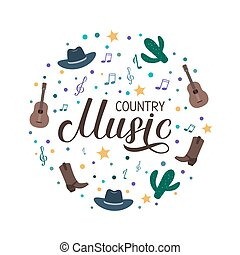 Country Music lettering with hat, cowboy boots, guitar and notes isolated on white. Acoustic guitar musical show typography poster. Vector template for banner, sign, logo, flyer design, invitation.