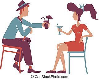 Couple at retro bar enjoying cocktails flat color vector faceless characters. Old fashioned boyfriend and girlfriend talking, drinking alcohol together isolated cartoon illustration