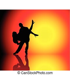 Silhouette of Couple dancing on beautiful hot background
