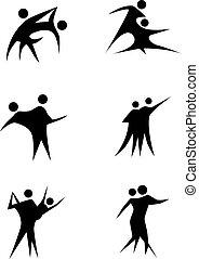 Couple Dancing Stick Figure Set