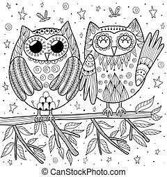 Couple of funny owls sitting on the branch coloring page