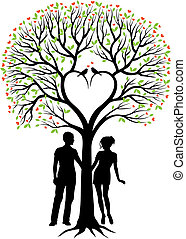 couple with heart tree, vector
