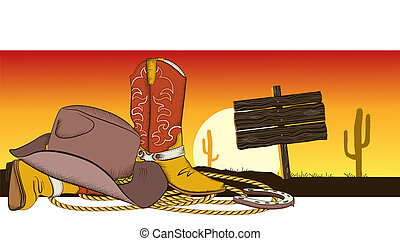Cowboy background with american clothes. Desert landscape