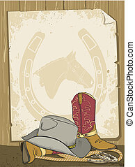 Cowboy background with boots and hat. Vector old paper