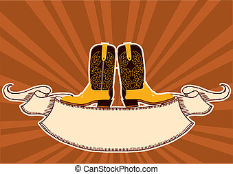 Cowboy boots. Background with grunge elements for text