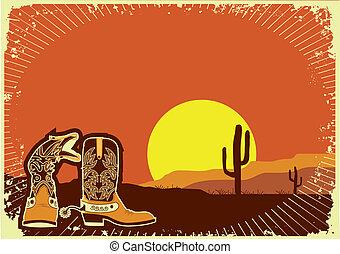 Cowboy boots. Grunge wild western background of sunset